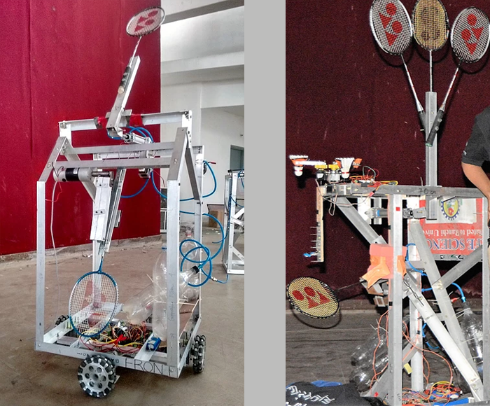The bots prepared for Robominton (ROBOCON 2015)